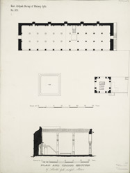 Plan and cross section of Shaikh Jod's masjid. Patan